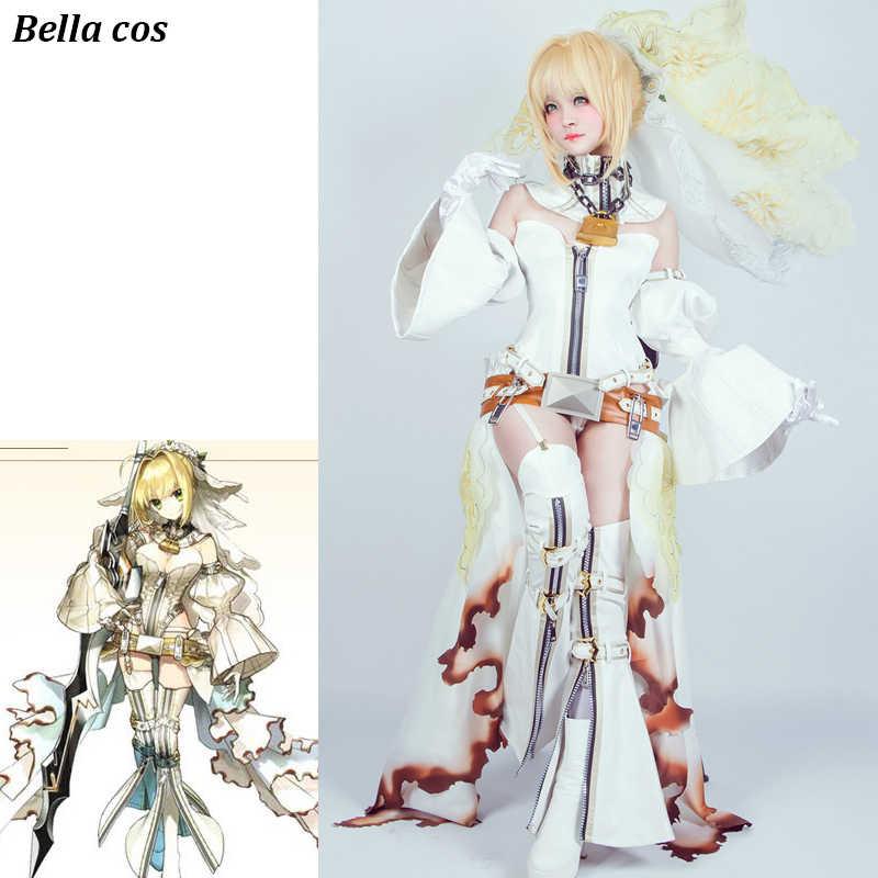 8facfa41429 Fate Grand Order Saber Nero Cosplay Costume White Bride Wedding Dress  uniform Carnival Halloween costume for