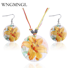WNGMNGL New Brand Jewelry Sets Beautiful Shell Flower Pattern Round Pendant Necklace and Drop Earrings Set for Women Ladies