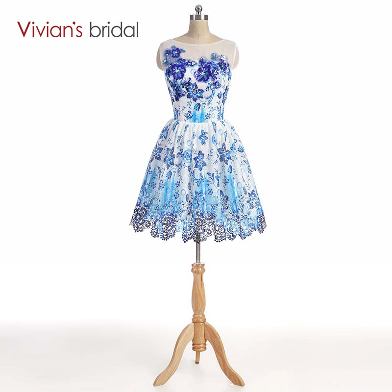 Vivian's Bridal   Cocktail     Dress   Elegant Blue Short A Line Flowers Women New Arrival Special Occasion   Dress     Cocktail   Party   Dress