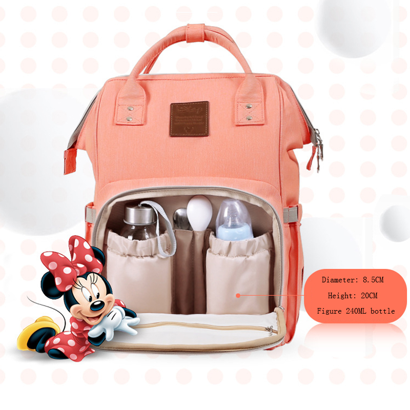 Disney Baby Diaper Bag Pure Color Backpack Water-proof Large Capacity Children Nursing Travel Backpack Maternity Baby Care BagDisney Baby Diaper Bag Pure Color Backpack Water-proof Large Capacity Children Nursing Travel Backpack Maternity Baby Care Bag