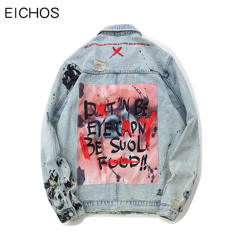 EICHOS Fashion Splash ink Graffiti Denim Jackets Mens Hip Hop Patchwork Ripped Distressed Punk Rock Jeans Coats Men Streetwear