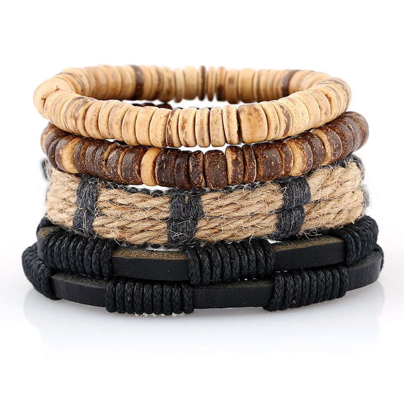 1Set (3-4PCs) Leather Bracelet Men Multilayer Bead Bracelet Punk Bracelets For Women Men Jewelry Handmade Wristband Rope Jewelry