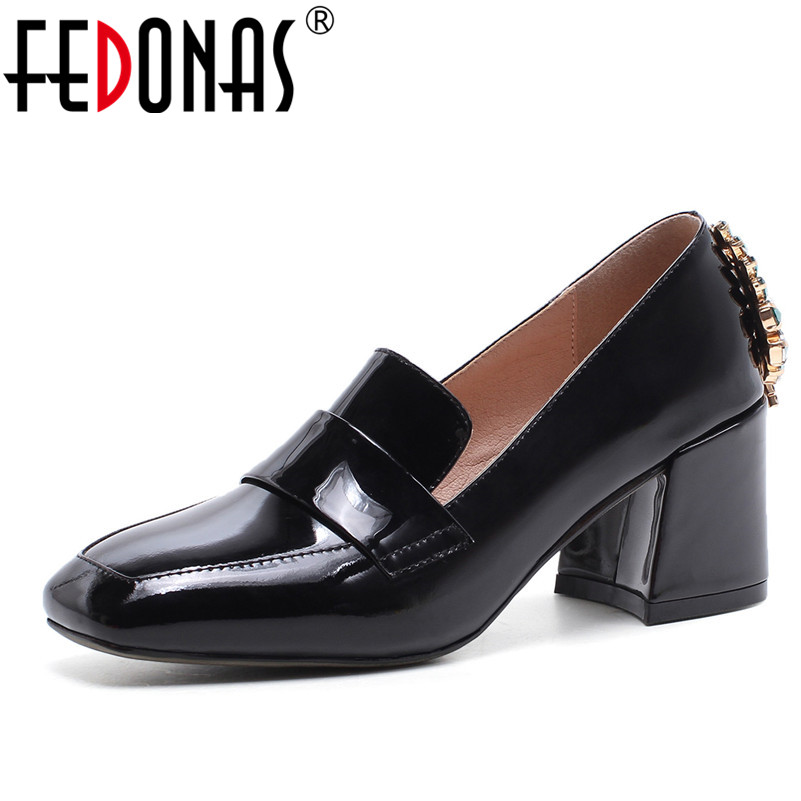 FEDONAS 2018 Gladiator Women Pumps Ladies Sexy Roman High Heels Square Toe Party Wedding Shoes Woman Rhinestone Luxury Pumps ladies red shoes 2018 spring patent cross straps gladiator pointed toe sandals women high heels party wedding pumps shoes 43