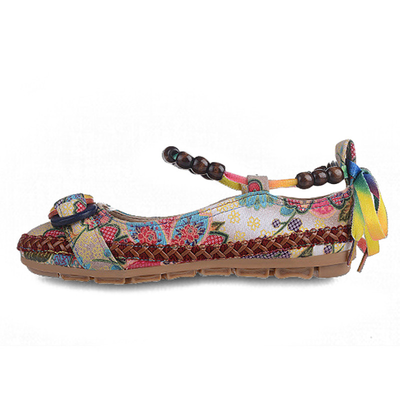 24f8abf72f35f Women Shoes 2018 New Chinese Style Retro Womens Ladies Flat Shoes Casual  Beading Round Toe Colorful Comfortable Flats Loafers-in Women s Flats from  Shoes on ...