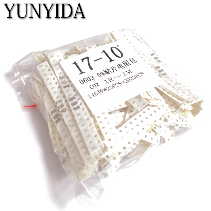 0603 SMD Resistor Samples Kit ,0R,1R~1M  146ValuesX20pcs=2920pcs, Free Shipping