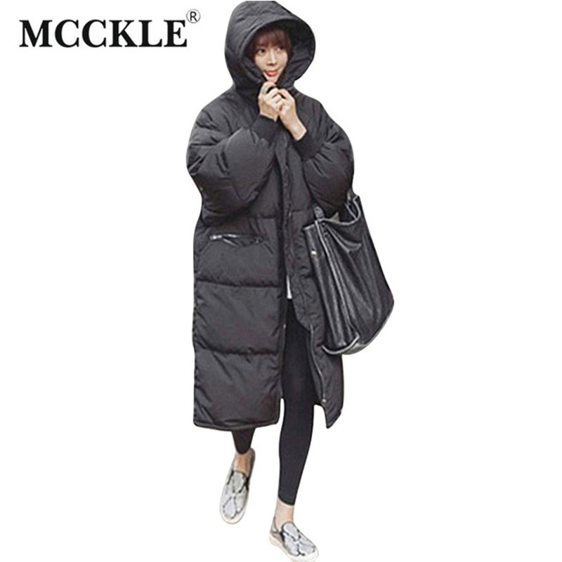 thicken Long Winter warm Jacket With Hood 2016 Autumn Winter Oversize Black Womans Parkas Coats Hooded Jackets fashion outwear