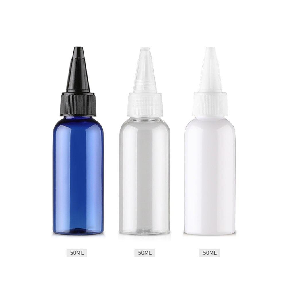 Güzellik ve Sağlık'ten Doldurulabilir Şişeler'de 100 adet 50ml Boş Yuvarlak Sivri Ağız Sıvı plastik saklama kutusu 50cc Boş Mavi Kozmetik Losyon Şişeleri vidalı kapak DIY'da  Grup 3