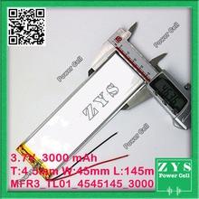 Embalagem Da segurança (nível 4) 3.7 V bateria de Polímero de lítio 4545145 3000 mah para UAS Zona mini drone Drone UAV fpv tamanho: 4.5x45x145mm
