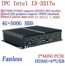 Fanless Intel Core i3 PC Gigabit Ethernet NM70 6USB 6 COM 4G RAM 500G HDD WIN7