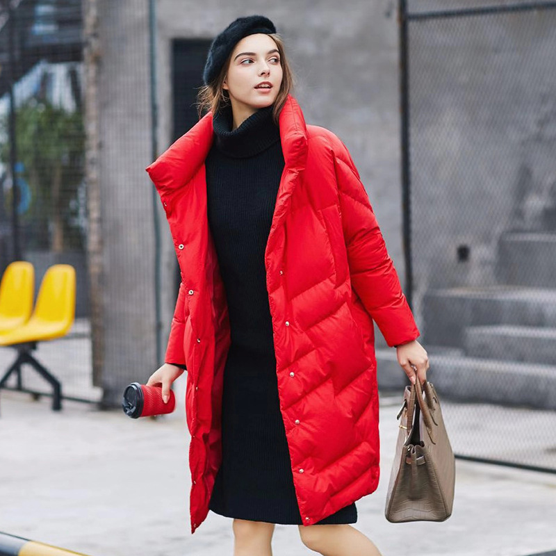 Grand Veste Code Noir blanc Lâche Femmes Style Plus rouge Shintxxx Vêtements 2018 Grande Nouveau Mi D'hiver Long Taille Chaud De Down BpqvCPxwa