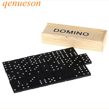 New Hot 28 pcs/Set Wooden black Domino Blocks with Wooden Box Educational Games Set for Kids Christmas Gift Board Games qenueson marvis black box gift set