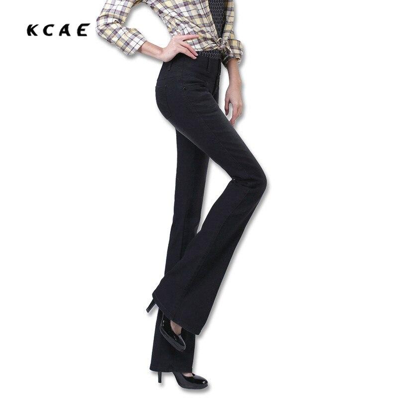 New Autumn High Waist Flare font b Jeans b font Pants Plus Size 25 32 Stretch