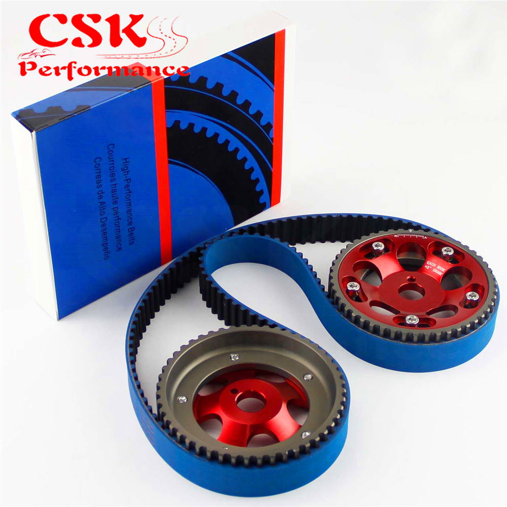 цена на Racing Timing Belt + Cam Gear Pulley Kit Fits For 1993-2002 Toyota Supra Mask IV 2JZ-GTE 2JZ Red/Purple/Blue