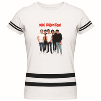 One Direction Women's Stripes T Shirt - Music What makes you beautiful Love Song UK Fans Tee Shirts Ladies Clothing Top Tees