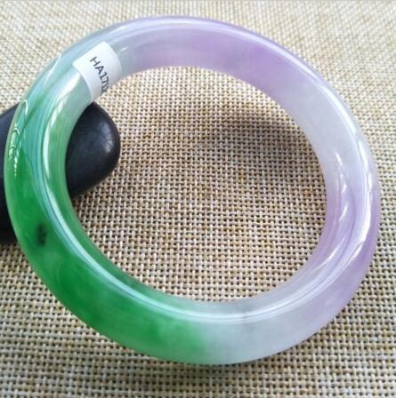 58mm Lavender Jadeite JADE with Flower Bracelet Bangle #886