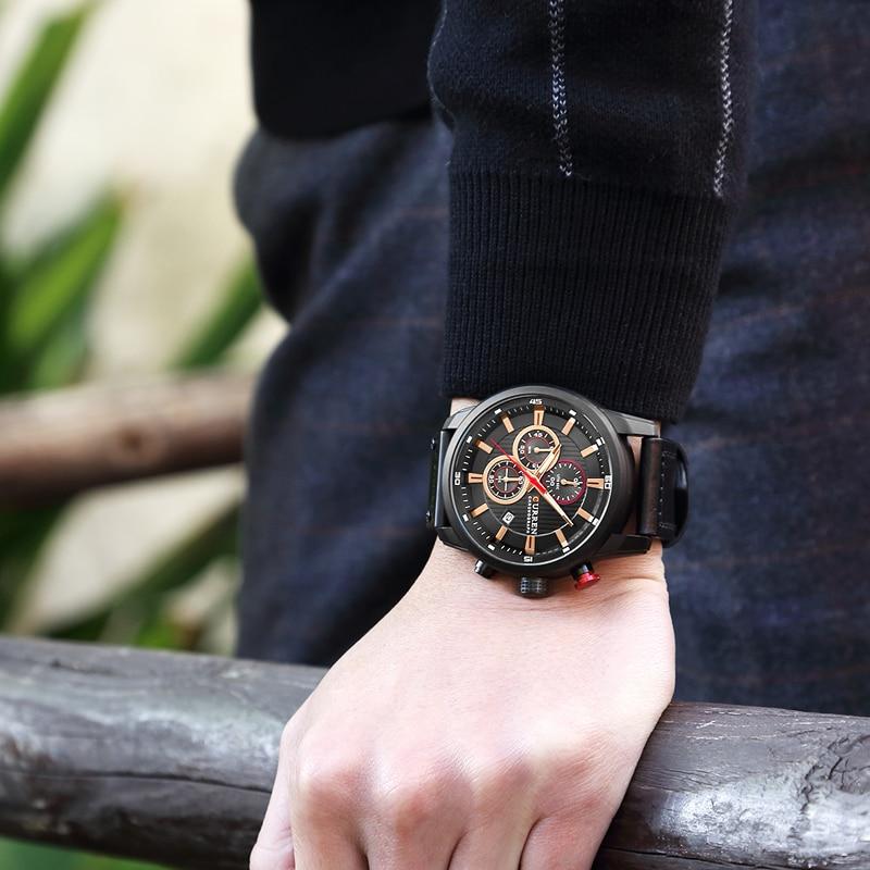 CURREN 8291 Luxury Brand Men Analog Digital Leather Sports Watches Men\`s Army Watch Man Quartz Clock Relogio Masculino drop shipping wholesale cheap (25)