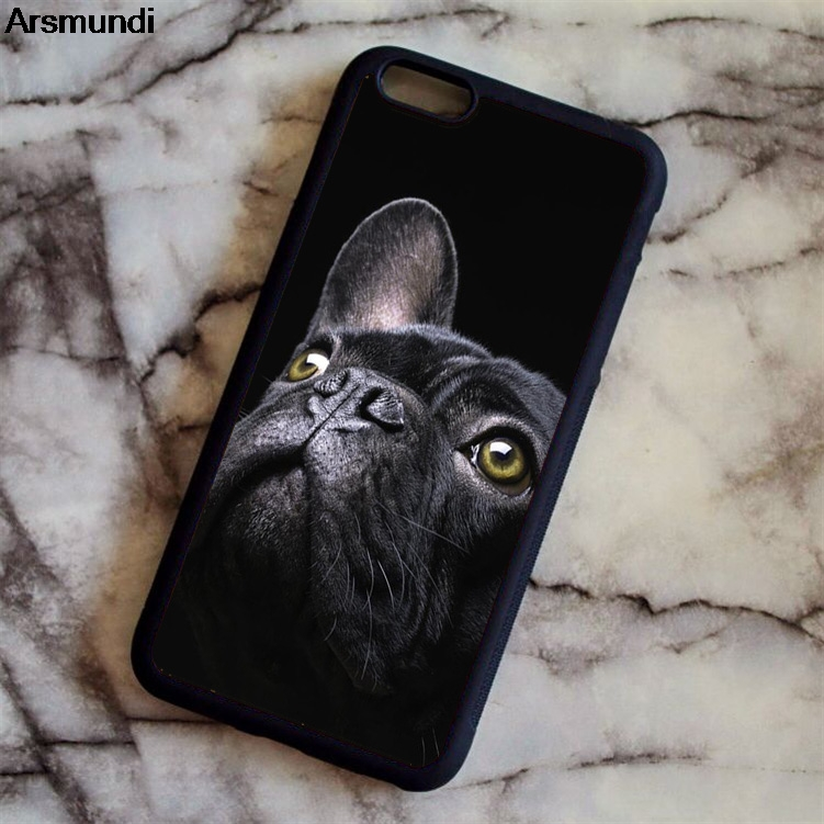 Arsmundi Black French Bulldog Dog Phone Cases for iPhone 4S 5C 5S 6 6S 7 8 Plus X for Samsung S6 7 Case Soft TPU Rubber Silicone