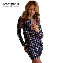 Lescamania 2016 autumn and winter fashion trend plaid package hip self-cultivation dress