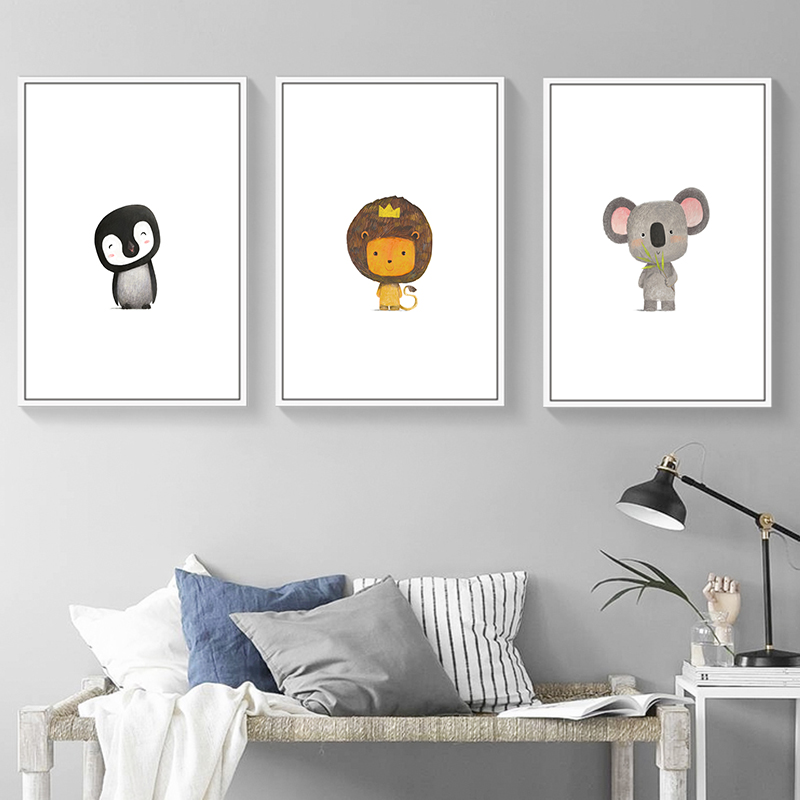 Elegant Poetry Nordic Cute Color Animal Cartoon Canvas Print Print Poster Picture Baby Room Bedroom Home Decor in Painting Calligraphy from Home Garden