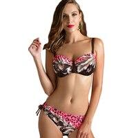 PNT026 Bikini Set 2016 Summer Swimwear Biquini Women Sexy Plus Size Flower Pattern Mature Swimsuit Free