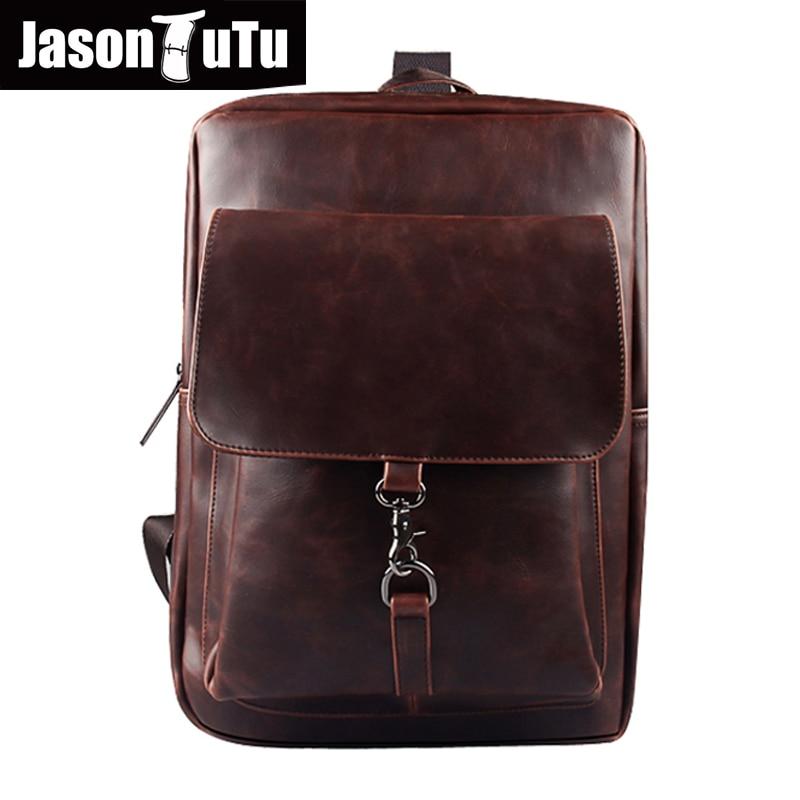 men backpack leather school bags men's travel bags rucksack 2018 Preppy Style Daily backpack Black back pack mochila B104