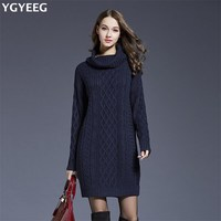 YGYEEG Turtleneck Loose Mini Sweater Dress 2017 Autumn Woman Solid White Vestidos Casual Twist Knitted Dresses
