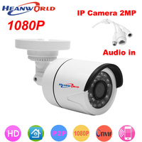 HD 1080P IP Camera Mini Bracket Camera Outdoor Waterproof Audio Night Vision Security CCTV Camera Webcam