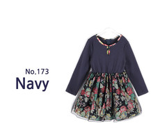 free ship 1-7T girl dress long sleeve 2015 princess floral print vestidos party dress fancy kids winter dresses for girls