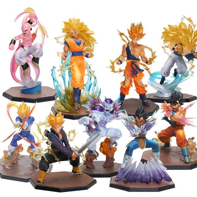 9 3 pçs/lote Super Saiyan Goku Majin Buu Vegeta Trunks Freezer PVC Figuras de Ação Dragon Ball Z Modelo Colecionável brinquedo