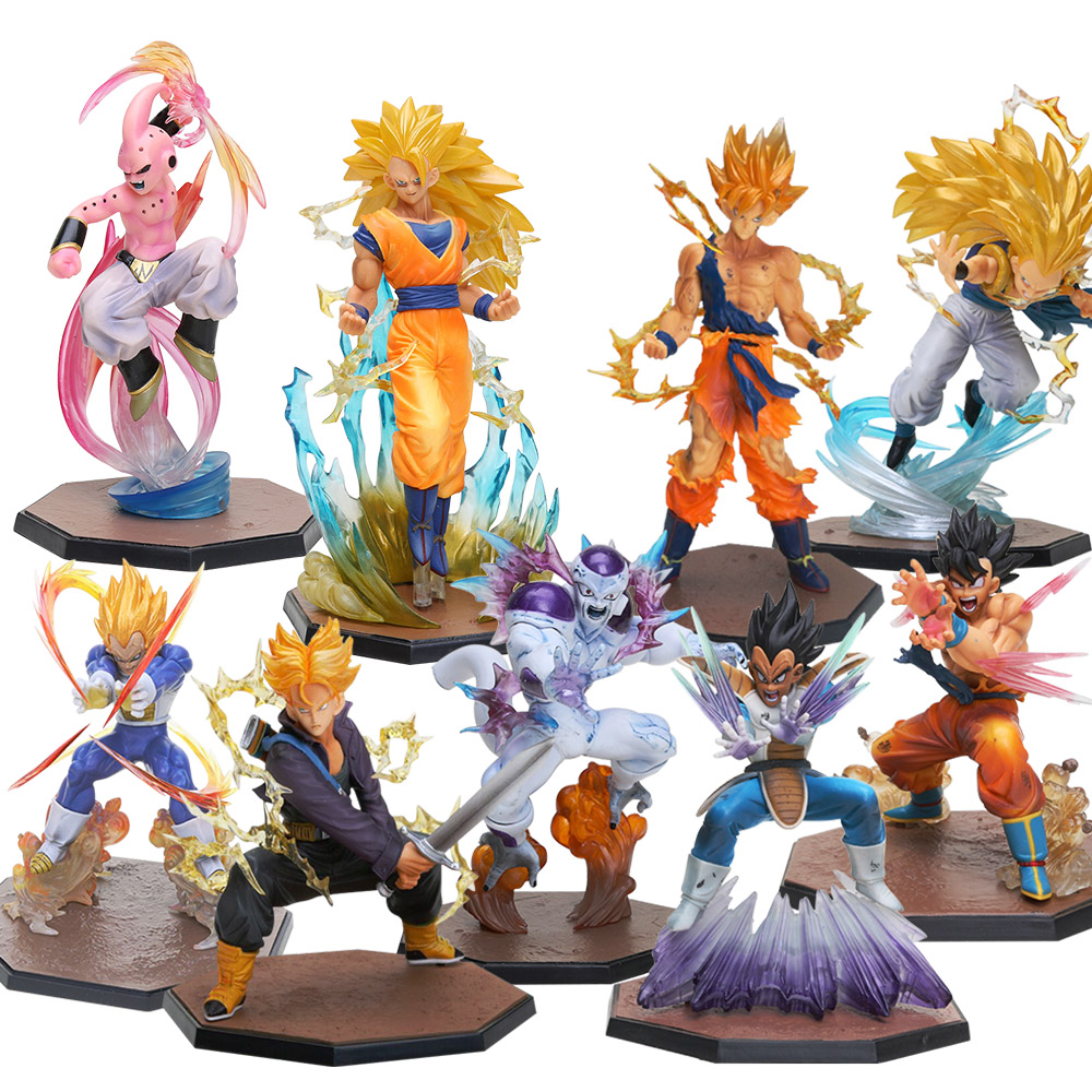 Dragon Ball Z Action Figures – Super Saiyan 3 Son Goku Majin Buu Vegeta Trunks Freezer Figuarts | 9pcs/lot