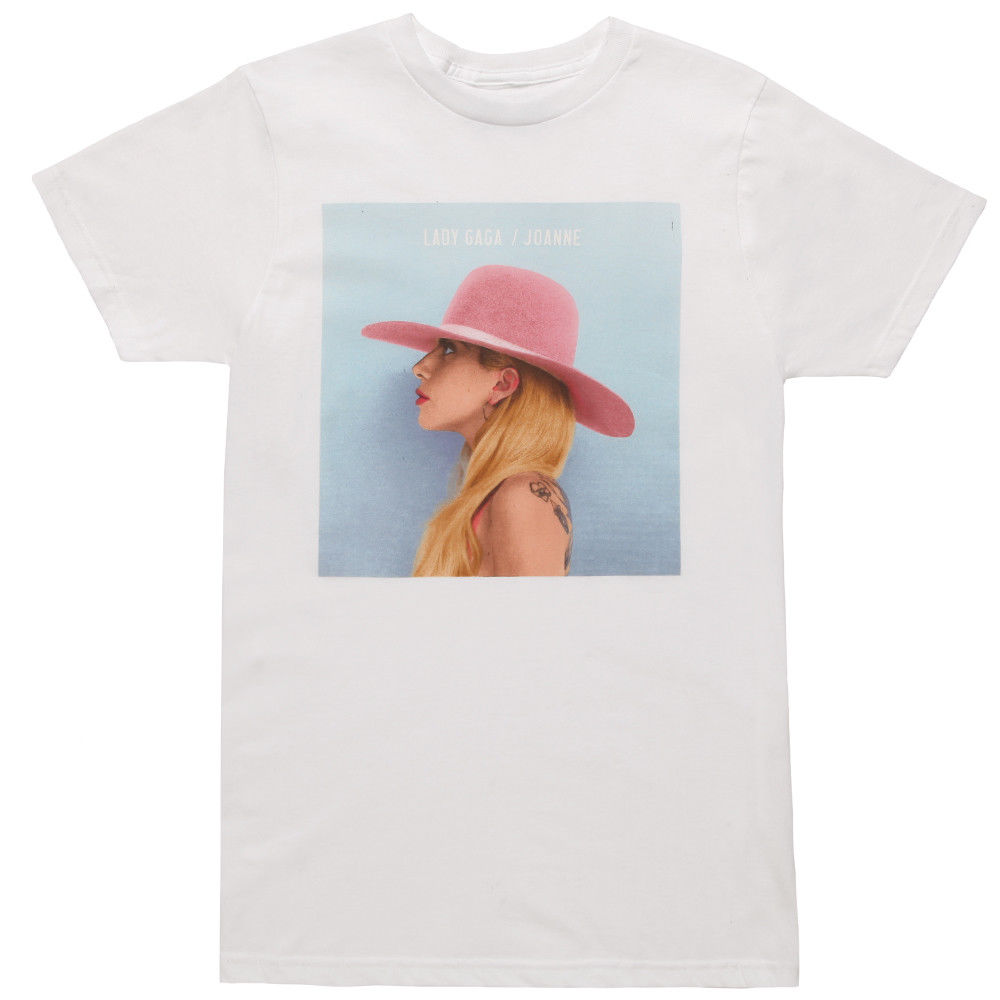 Lady Gaga Joanne Album Cover Licensed Adult T-Shirt - White T Shirt Hipster Cool O Neck Tops Personality