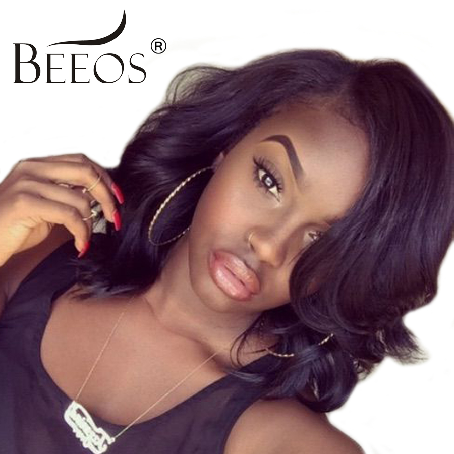 BEEOS 250% Density Lace Front Human Hair Wigs With Baby Hair Remy Hair Brazilian Wavy Short Wigs Pre Plucked Bleached Knots ...