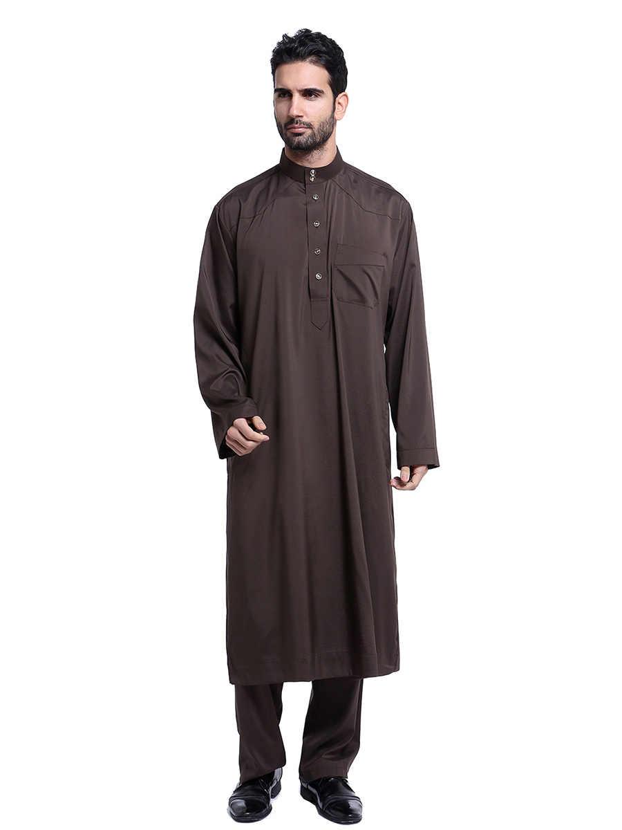 Gamis มุสลิมชายโมร็อกโก Kaftan ผู้ชายมุสลิมชุด 2 Pcs Abaya อย่างเป็นทางการปากีสถาน Musulman Homme Jubah Caftan อิสลามเสื้อผ้า
