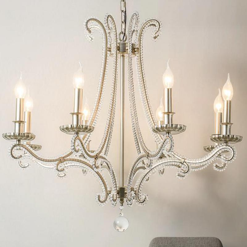 French Cast Metal chandelier for living room indoor lighting Country wrought iron lamp bedroom retro silver