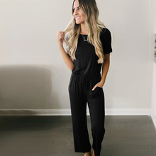Autumn new womens loose jumpsuit fashion casual short-sleeved strap long black wine red