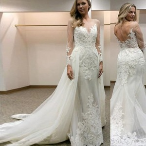 Image 2 - Elegant Scoop Sheer Neckline Full Sleeves Sheath Wedding Dress with Lace Applique Backless Bridal Dress Vestido de novia