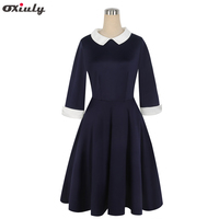 Oxiuly Blue Office Dresses Women 2017 Fall Fashion Three Quarter Sleeve A Line Dress Ladies Casual