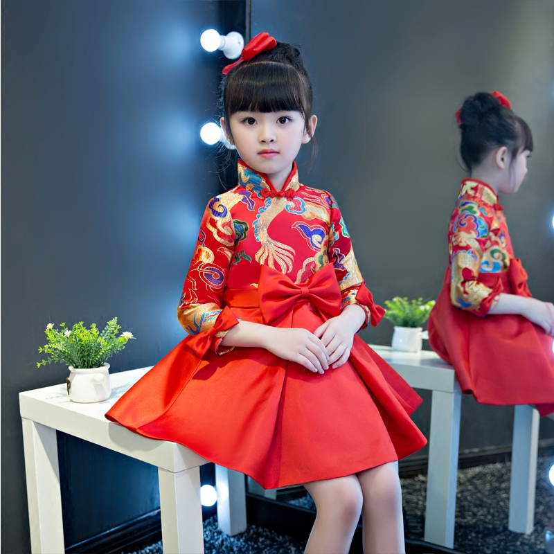 New Chinese Retro Children Girls Red Color Tribute Silk Princess Party Dress Kids Babies Autumn Long Sleeves Birthday Dress 2017 autumn new style 3 10 years girls dresses children bud silk princess dress long sleeved red christmas party dress