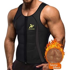 Image 1 - NINGMI erkek zayıflama yelek sıcak gömlek spor kilo kaybı ter Sauna takım elbise bel eğitmen vücut şekillendirici neopren Tank Top ile fermuar