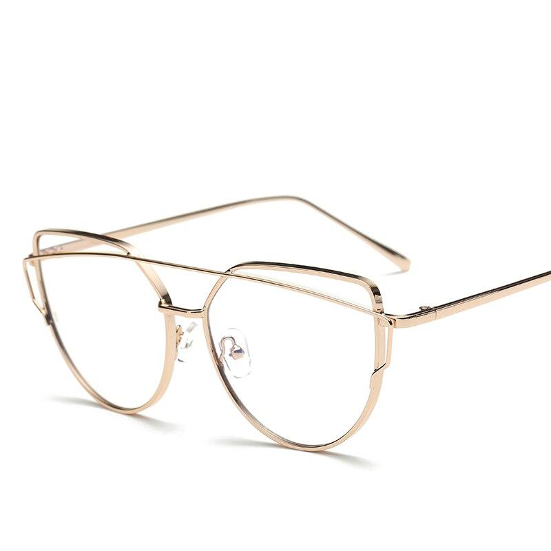 Moda Rosa oro polígono metal ojo Gafas Marcos claro lente miopía ...