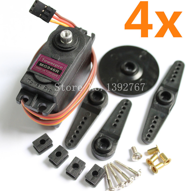 4pcs Genuine TowerPro MG946R Servo Digital Full Metal Gear Lenk 55g Torque 13Kg Upgrade MG945 For RC Robot Car Boat Helicopter 1pcs jx pdi 6221mg 20kg large torque digital coreless servo for rc car crawler rc boat helicopter rc model