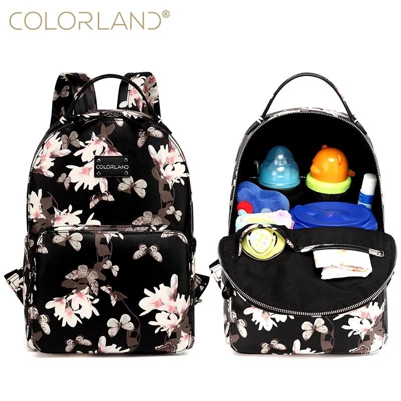 Цветок из искусственной кожи водостойкие Путешествия сумка для молодых мам подгузник рюкзак сумка под подгузники детские сумки для мамы Ма...