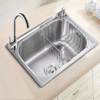 Stainless Steel Drawing Kitchen Sink Single Bowl Whit Soap Dispenser Faucet Mounting Holes