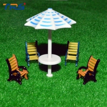 купить 10pcs 1:50 scale model furniture model outdoor sunshade&chair set for architecture sand table layout дешево