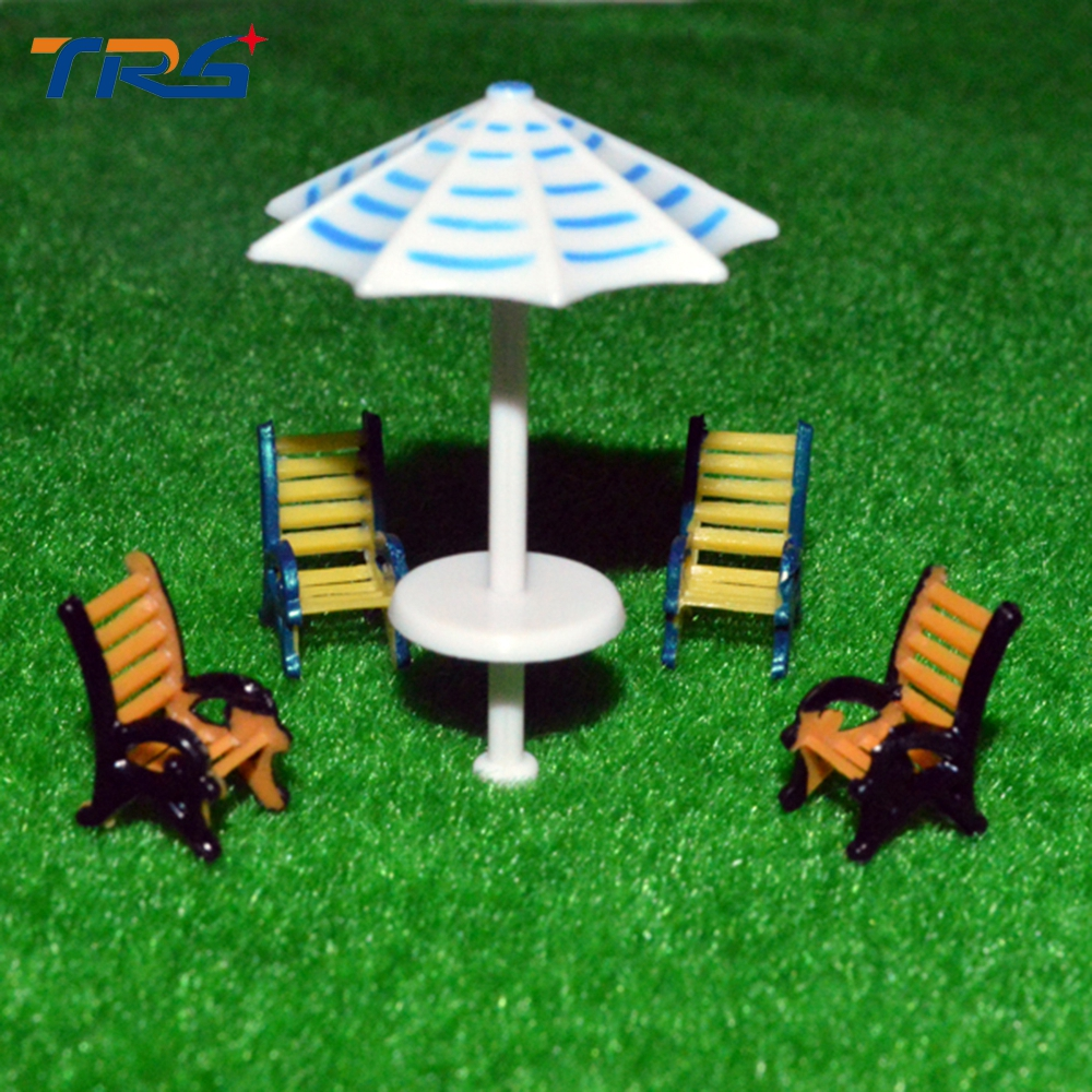 10pcs 1:50 scale model furniture outdoor sunshade&chair set for architecture sand table layout