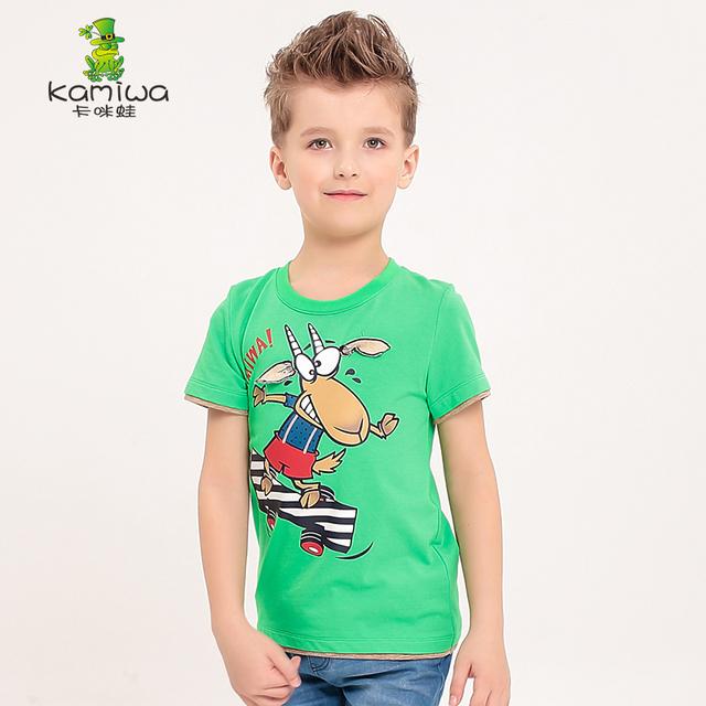 KAMIWA 2016 verão new O Pescoço de manga curta Adolescente meninos Camisetas Tees tops roupa do desgaste das crianças dos desenhos animados roupa dos miúdos T camisas