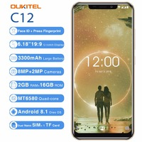 OUKITEL C12 3G Phone 6.18 Android 8.1 MT6580 Quad Core 1.3GHz 2GB+16GB 8MP+2.0MP Face ID Fingerprint