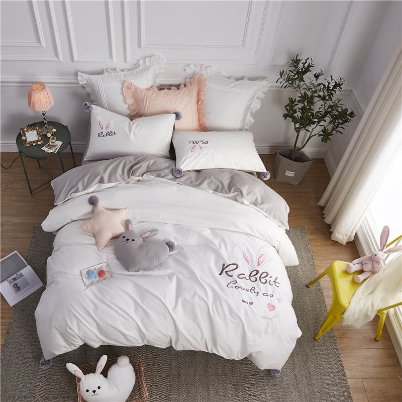 luxury 100% Cotton Lovely Bunny ears Bedding set Embroidery Duvet Cover Bed Flat Sheet Fitted Pillowcases Queen King Size 4pcsluxury 100% Cotton Lovely Bunny ears Bedding set Embroidery Duvet Cover Bed Flat Sheet Fitted Pillowcases Queen King Size 4pcs