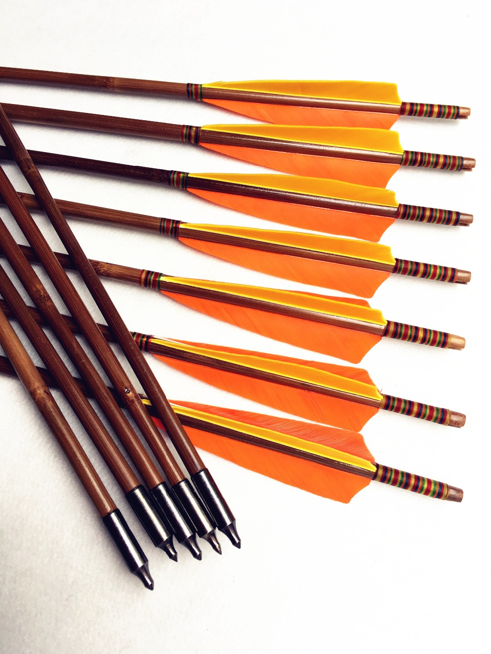 12 pk handmade Yellow & orange turkey feather bamboo arrows shooting  recurve longbow hunters lovers
