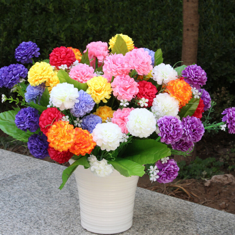 2019 New 8 Hydrangea Artificial Home Decoration Multi-colored Beautiful Plastic, Wire Fragrant Chrysanthemums Fake Flowers